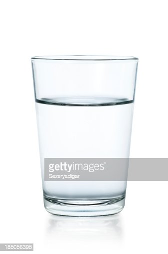 Clear glass of water on a white background