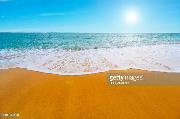 Clear orange sand sunny beach with foamy seashore