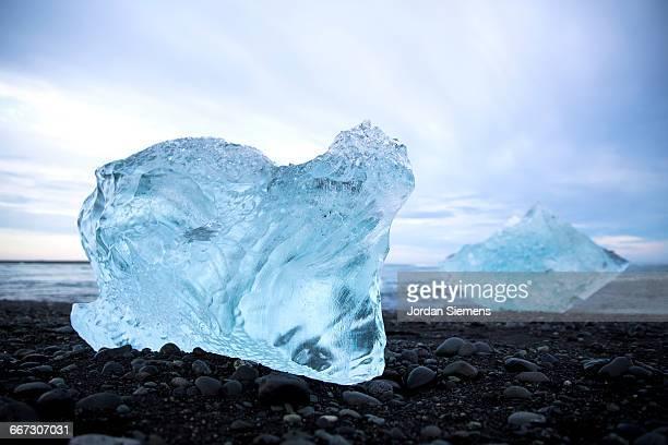 A clear piece of glacier ice.
