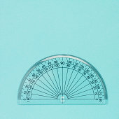 Clear plastic protractor, close-up