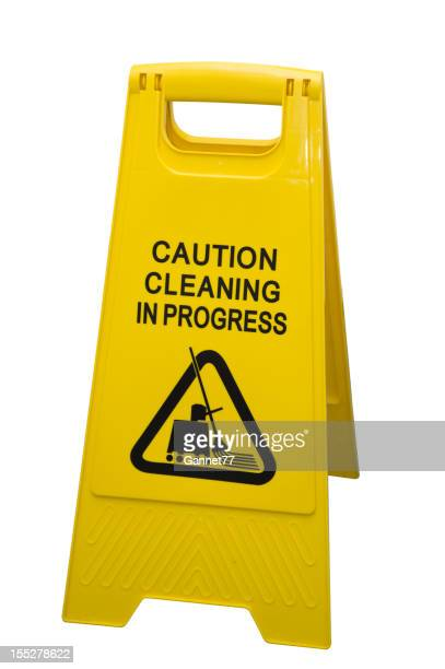 Clear shot of Cleaning in Progress Sign