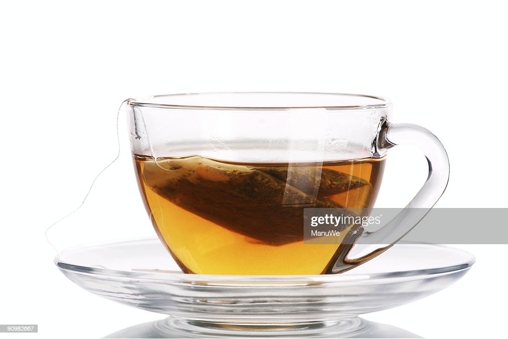 Clear tea cup with teabag inside