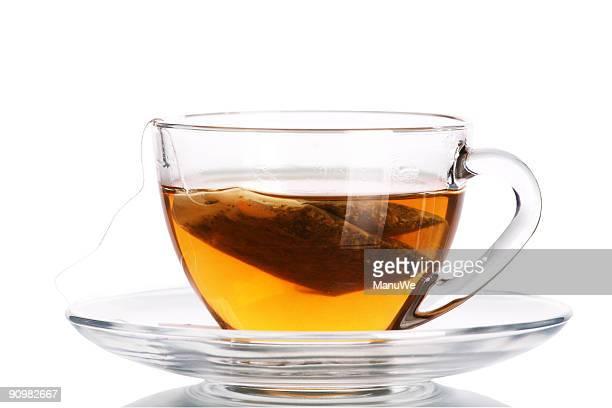 Glas Tee mit Tasche am Ende