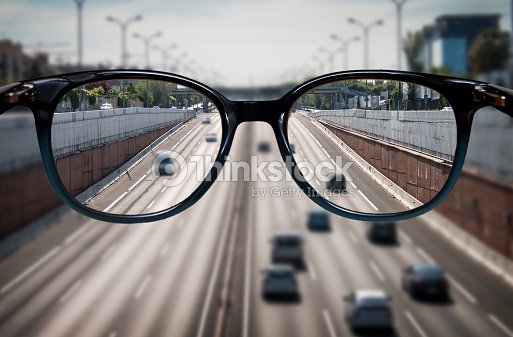 Clear vision through glasses : Stock Photo
