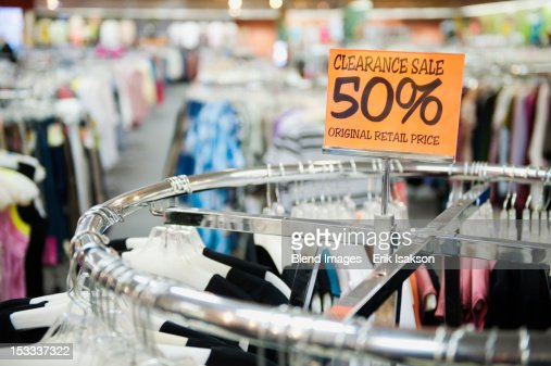 Clearance sale tag in clothing store