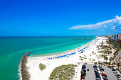 stunning aerial view of sunny Clearwater Beach Florida