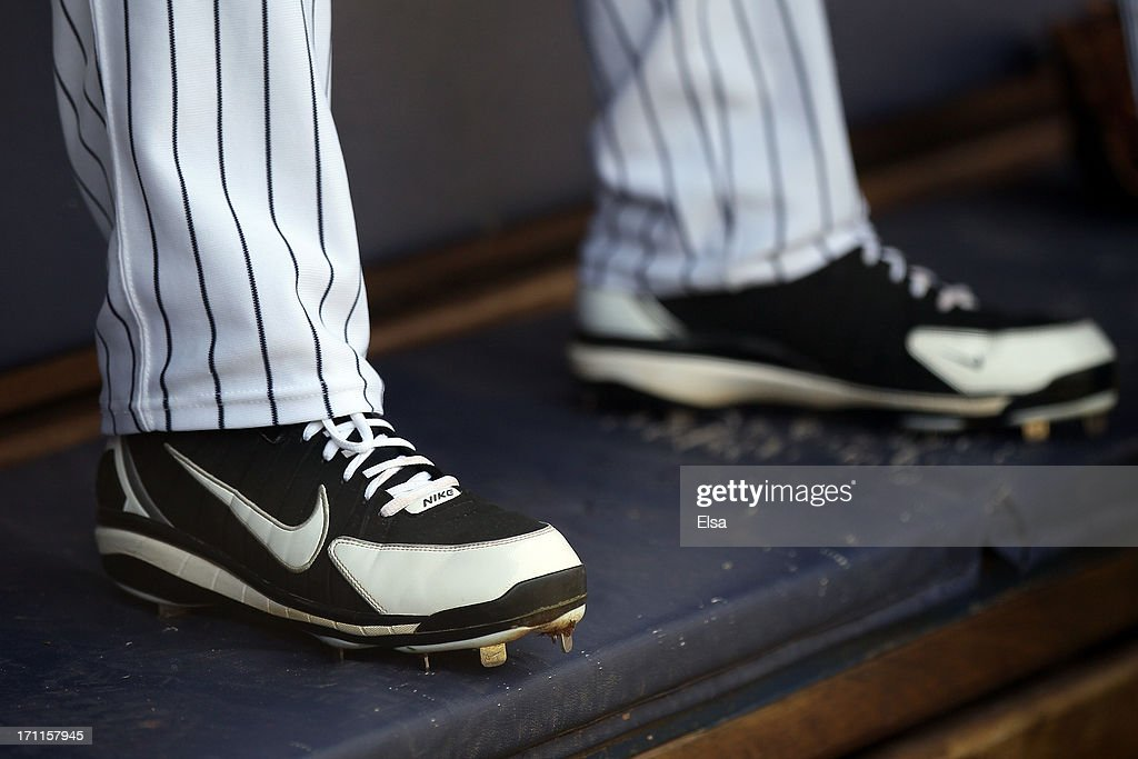 Cleats worn by New York Yankees players in the dugout before the game between the New York Yankees and the Tampa Bay Rays on June 22,2013 at Yankee Stadium in the Bronx borough of New York City.