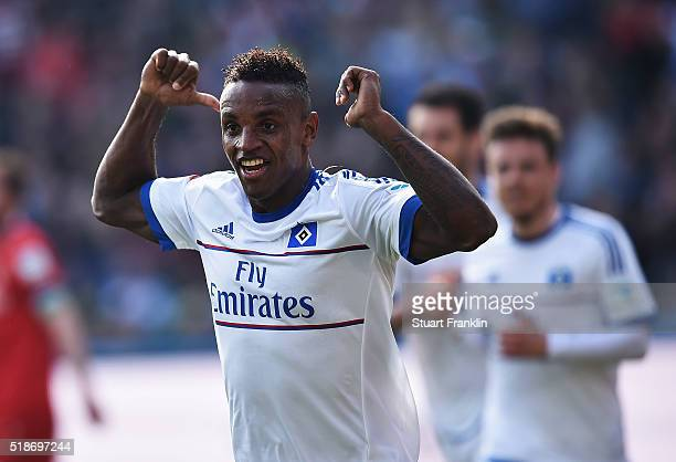 Cleber Reis of Hamburg celebrates scoring his goal during the Bundesliga match between Hannover 96 and Hamburger SV at HDIArena on April 2 2016 in...
