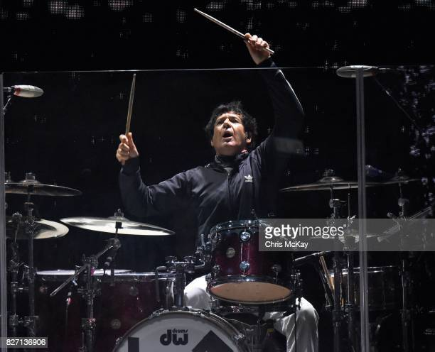Clem Burke of Blondie performs at Chastain Park Amphitheater on August 6 2017 in Atlanta Georgia