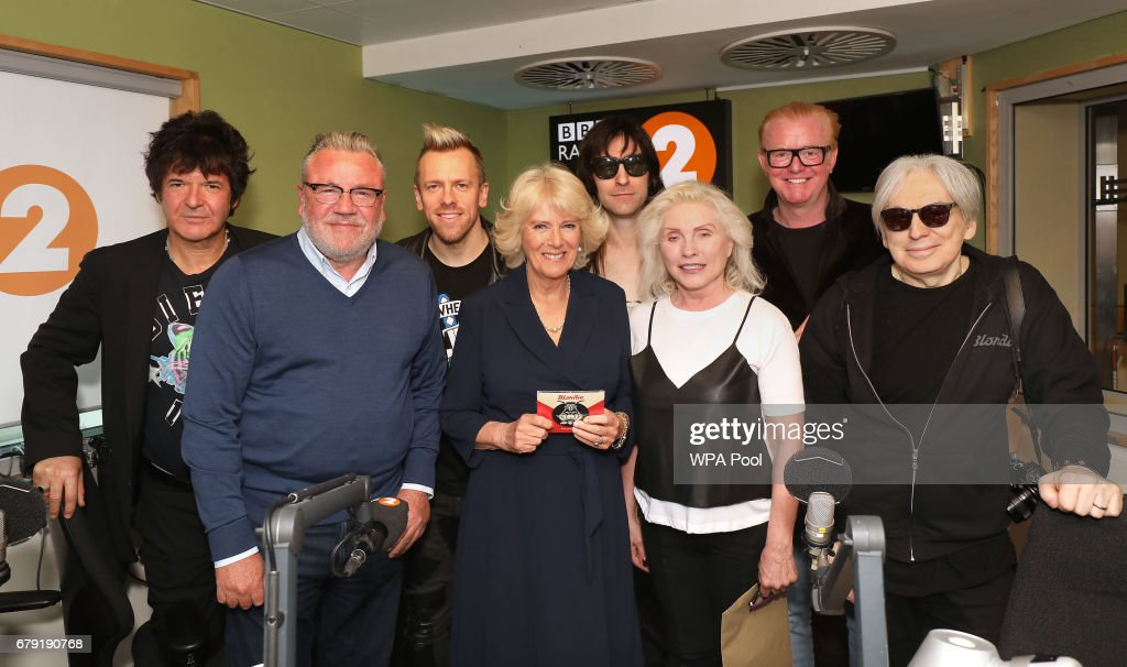 Clem Burke, Ray Winston, Debbie Harry from Blondie with band members and Chris Evans pose with Camilla, Duchess (2nd-L) of Cornwall as she joins the '500 Word' judging panel, a creative writing competition, at BBC Radio 2 Studios on May 4, 2017 in London, England.