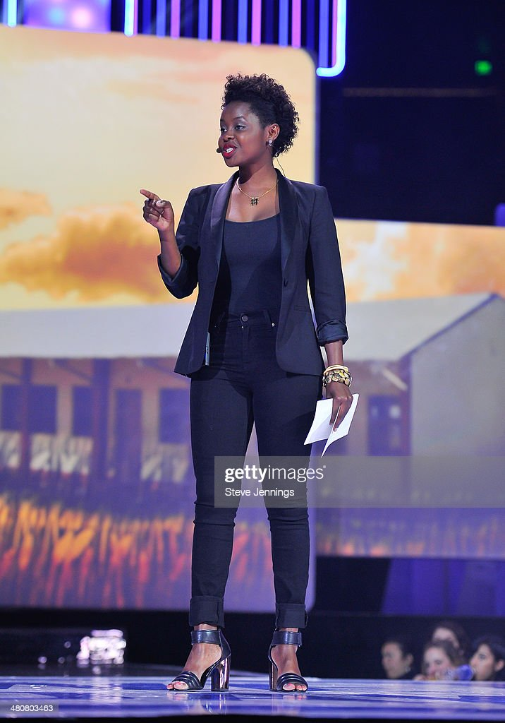 Clemantine Wamariya in Oakland, CA speaks about youth empowerment to 16,000 students and educators at the first We Day California at ORACLE Arena on March 26, 2014 in Oakland, California.