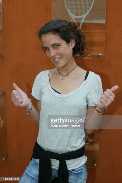 Clemence Castel winner of Koh Lanta arrives in the 'Village' the VIP area of the French Open at Roland Garros arena in Paris France on May 31 2007