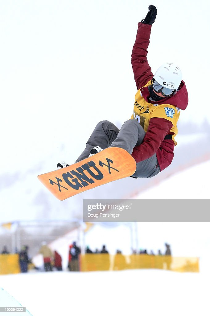 Clemence Grimal of France competes during qualifications for the FIS Snowboard Halfpipe World Cup at the Sprint U.S. Grand Prix at Park City Mountain on January 30, 2013 in Park City, Utah.