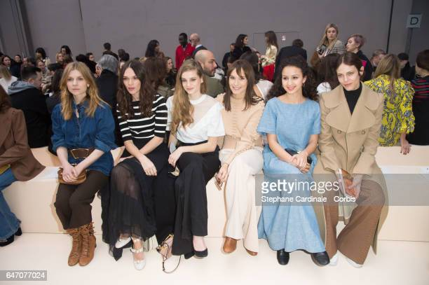 Clemence Poesy a guest Noemie Schmidt Ana Girardot Oulaya Amamra and Aymeline Valade attend attends the Chloe show as part of the Paris Fashion Week...