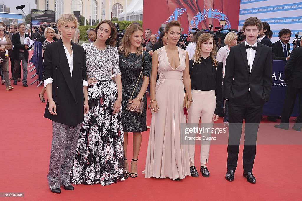 Clemence Poesy Anne Berest Lola Bessis Audrey Dana Christine and The Queens and Freddie Highmore arrive at the opening ceremony of 40th Deauville...