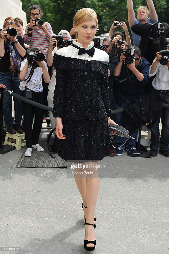 Clemence Poesy attends the Chanel show as part of Paris Fashion Week Haute-Couture Fall/Winter 2013-2014 at Grand Palais on July 2, 2013 in Paris, France.