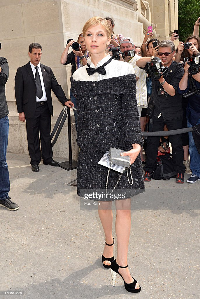 Clemence Poesy attends the Chanel show as part of Paris Fashion Week Haute-Couture Fall/Winter 2013-2014 at the Grand Palais on July 2, 2013 in Paris, France.
