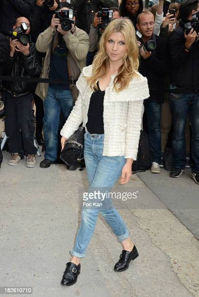 Clemence Poesy attends the Chanel show as part of the Paris Fashion Week Womenswear Spring/Summer 2014 at the Grand Palais on October 1 2013 in Paris...