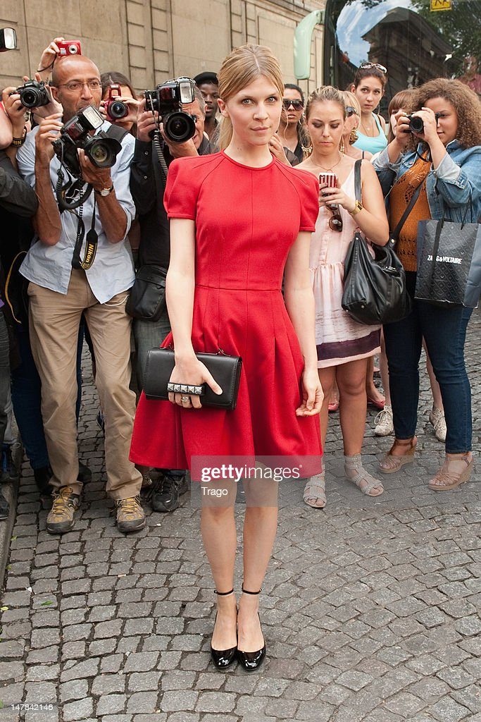 Clemence Poesy attends the Valentino Haute-Couture Show as part of Paris Fashion Week Fall / Winter 2013 at Hotel Salomon de Rothschild on July 4, 2012 in Paris, France.