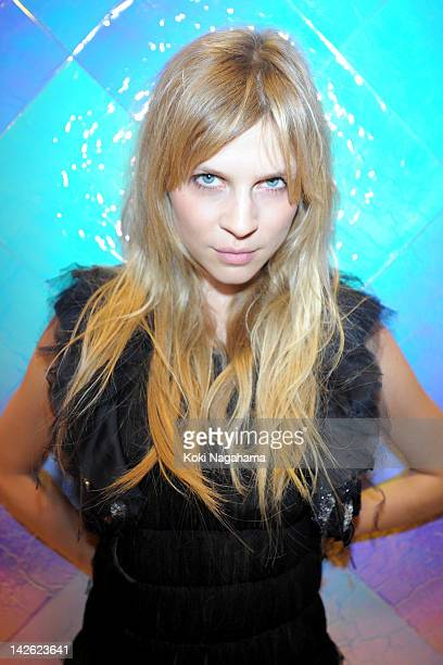 Clemence Poesy poses for photogrpahs during the Tokyo Ephemeral Boutique Opening Reception at BATSU Art Gallery on March 23 2012 in Tokyo Japan