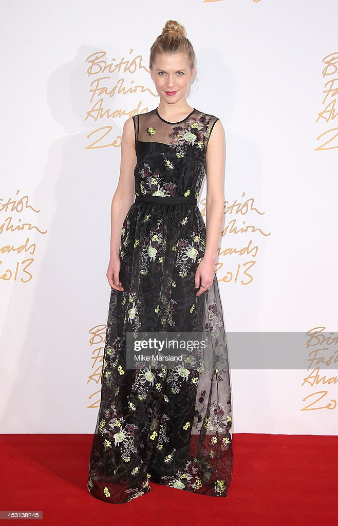 Clemence Poesy poses in the winners room at the British Fashion Awards 2013 at London Coliseum on December 2, 2013 in London, England.