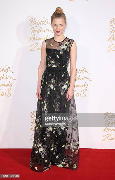 Clemence Poesy poses in the winners room at the British Fashion Awards 2013 at London Coliseum on December 2 2013 in London England