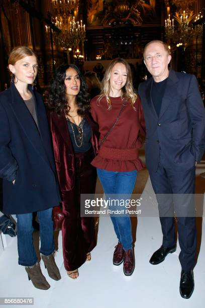 Clemence Poesy Salma Hayek Ludivine Sagnier and CEO of Kering Group FrancoisHenri Pinault attend the Stella McCartney show as part of the Paris...