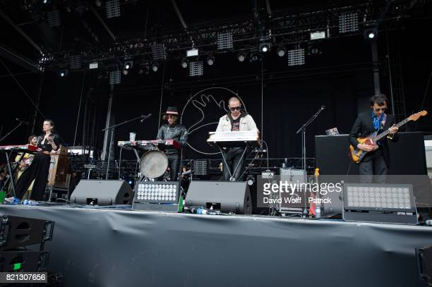 Clemence Quelennec from La Femme performs during first Lollapalooza Festival in France at Hippodrome de Longchamp on July 23 2017 in Paris France