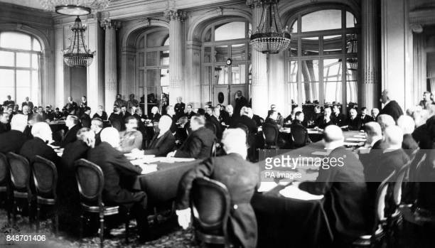 M Clemenceau addresses delegates at the Trianon Palace Hotel during the Versailles peace conference