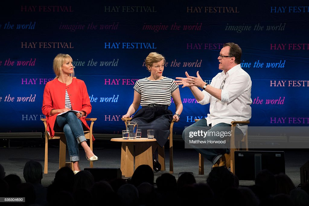 Clemency Burton-Hill (L) talks to actor Maxine Peake (Centre) and Russell T Davies, Welsh television producer and screenwriter whose work includes the 2005 revival of Doctor Who, during the 2016 Hay Festival on May 29, 2016 in Hay-on-Wye, Wales. The Hay Festival is an annual festival of literature and arts now in its 29th year.