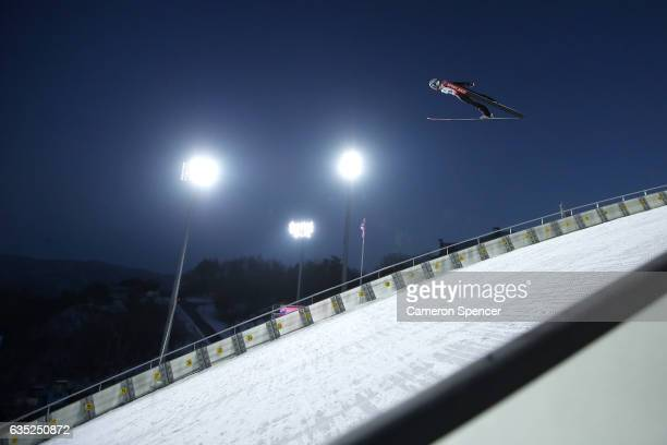 Clemens Aigner of Austria jumps during trainining for the 2017 FIS Ski Jumping World Cup test event For PyeongChang 2018 at Alpensia Ski Jumping...