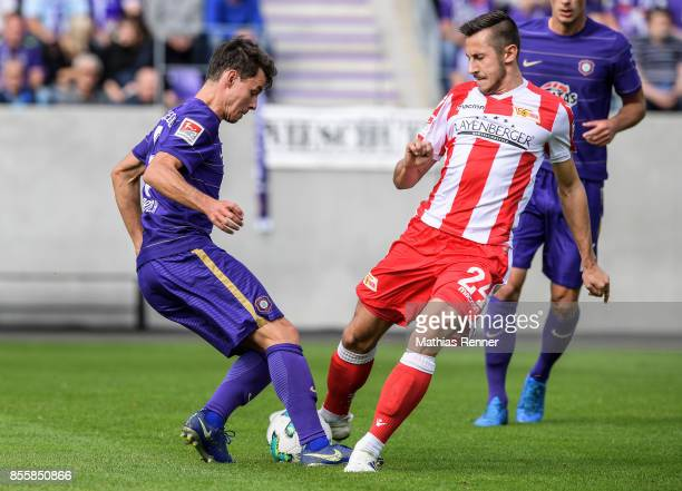 Clemens fandrich of Erzgebirge Aue and Steven Skrzybski of 1 FC Union Berlin during the game between FC Erzgebirge Aue and FC Union Berlin on...
