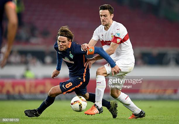 Clemens Fritz of Bremen and Christian Gentner of Stuttgart compete for the ball during the Bundesliga match between VfB Stuttgart and Werder Bremen...