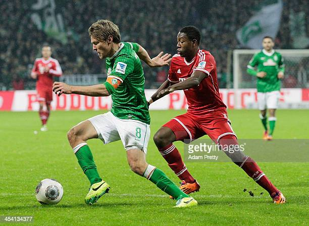 Clemens Fritz of Bremen in action during the Bundesliga match between Werder Bremen and FC Bayern Muenchen at Weserstadion on December 7 2013 in...