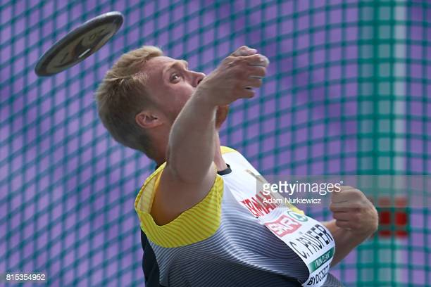 Clemens Prufer from Germany competes in men's discus throw final during Day 4 of European Athletics U23 Championships 2017 at Zawisza Stadium on July...