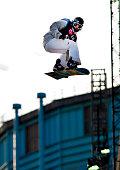 Clemens Schattsheneider from Austria competing in the LG Snowboard International Ski Federation in London