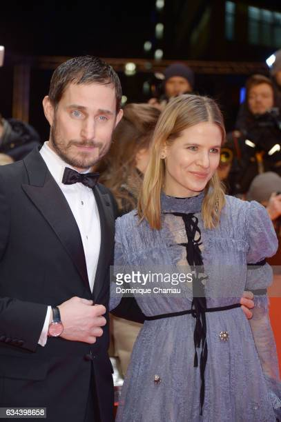 Clemens Schick and Aino Laberenz attend the 'Django' premiere during the 67th Berlinale International Film Festival Berlin at Berlinale Palace on...