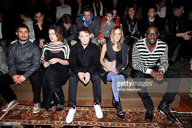 Clemens Schick Martina Codecasa Anton Yelchin Isabel Lucas and Idris Elba attend the Y3 Fall 2012 fashion show during MercedesBenz Fashion Week at...