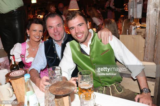 Clemens Toennies and his wife Margit Toennies and their son Max Toennies during the Oktoberfest at Kaefer Schaenke Theresienwiese on September 22...