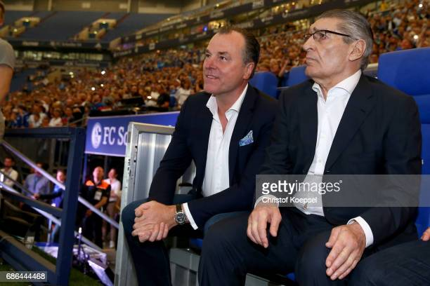 Clemens Toennies chairman of the board and former manager Rudi Assauer are seen prior to the 20 years of Eurofighter match between Eurofighter and...