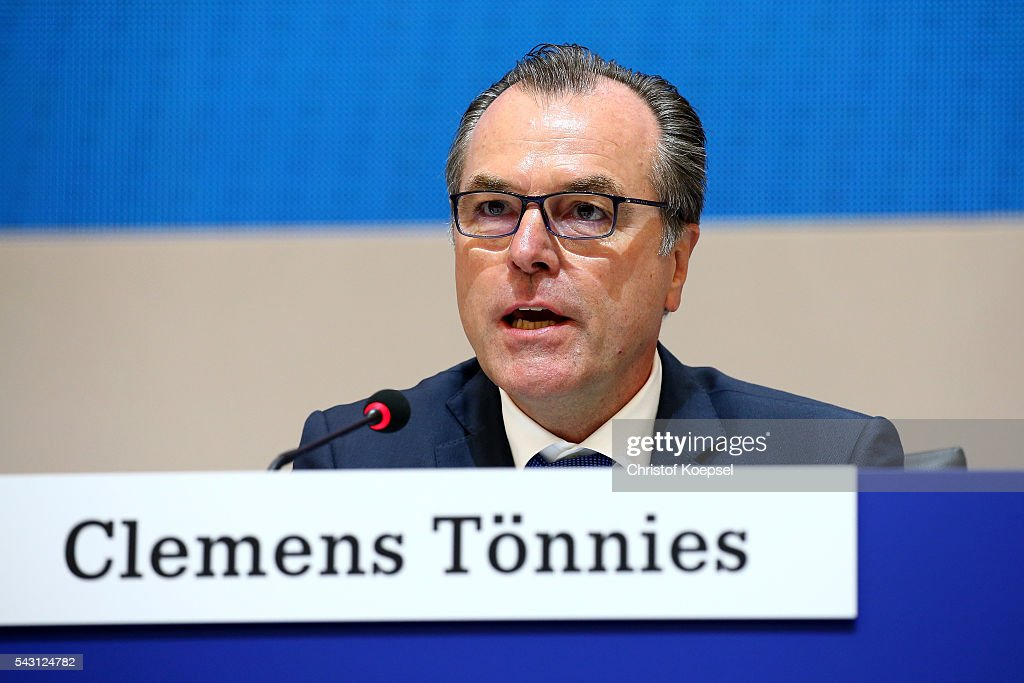 <a gi-track='captionPersonalityLinkClicked' href=/galleries/search?phrase=Clemens+Toennies&family=editorial&specificpeople=1028829 ng-click='$event.stopPropagation()'>Clemens Toennies</a>, chairman of the board attends the FC Schalke 04 general assembly at Veltins Arena on June 26, 2016 in Gelsenkirchen, Germany.