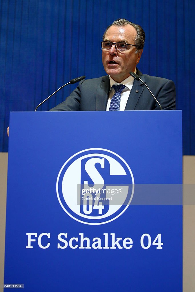 Clemens Toennies, chairman of the board is voted during the FC Schalke 04 general assembly at Veltins Arena on June 26, 2016 in Gelsenkirchen, Germany.