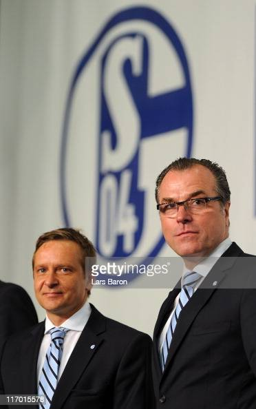 Clemens Toennies chairman of the supervisory board and manager Horst Heldt pose for a picture during the Schalke 04 annual general meeting at Emscher...