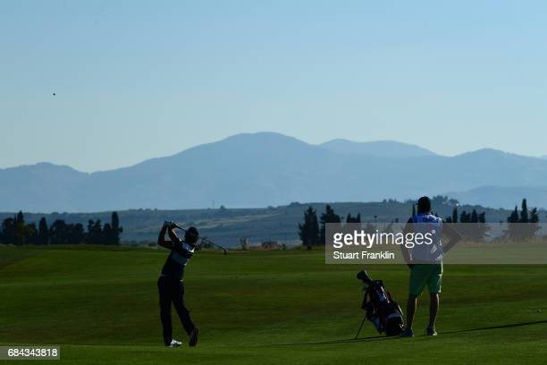 Clement Berardo of France hits an approach during the first round of the Rocco Forte Open at Verdura Golf and Spa Resort on May 18 2017 in Sciacca...