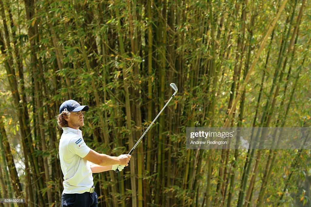Clement Berardo of France hits his tee shot on the 17th during the first round of the Trophee Hassan II at Royal Golf Dar Es Salam on May 5, 2016 in Rabat, Morocco.