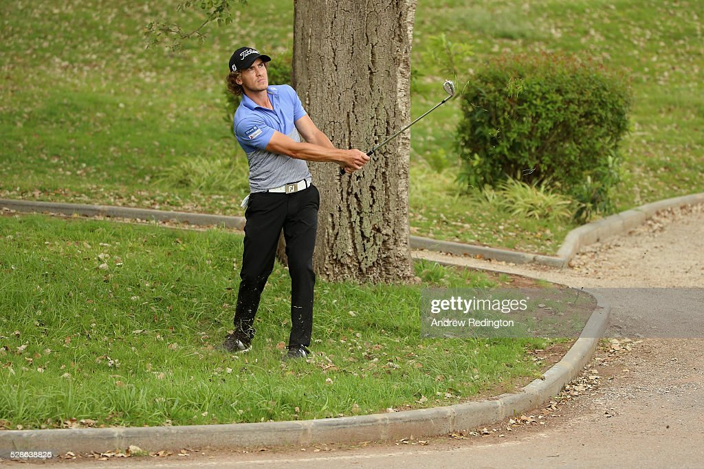 Clement Berardo of France plays a recovery shot on the seventh hole during the second round of the Trophee Hassan II at Royal Golf Dar Es Salam on May 6, 2016 in Rabat, Morocco.