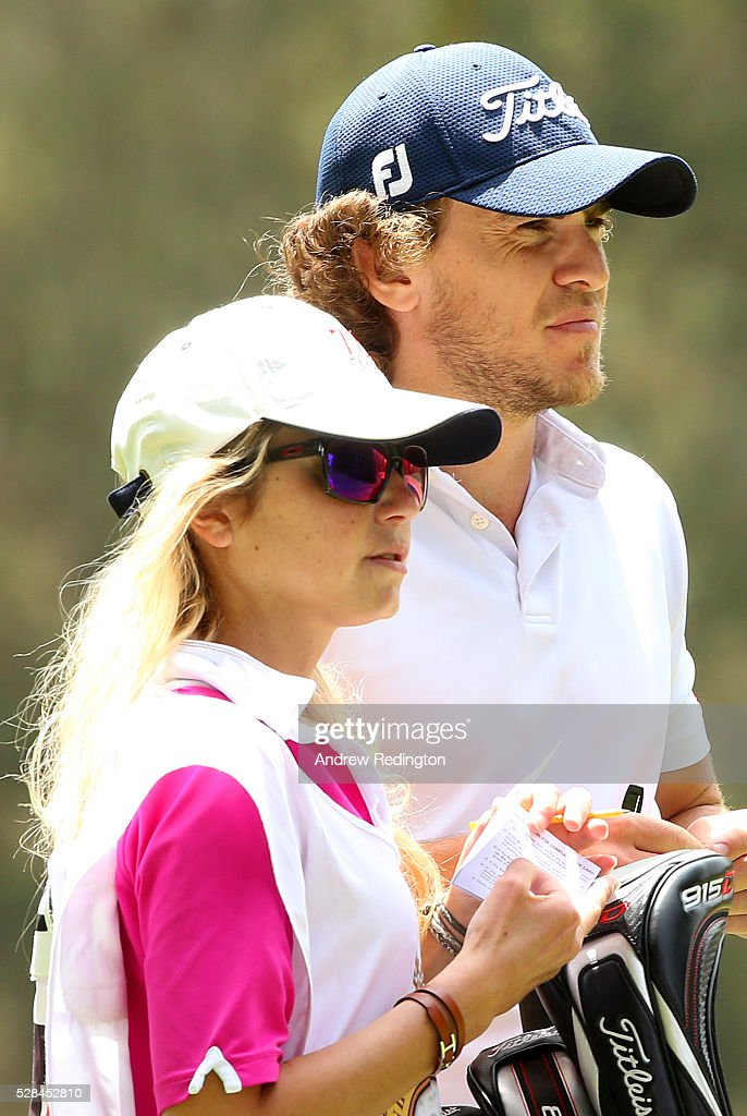 Clement Berardo of France speaks with his caddie before hitting his tee shot on the 17th during the first round of the Trophee Hassan II at Royal Golf Dar Es Salam on May 5, 2016 in Rabat, Morocco.