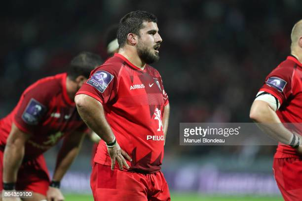 Clement Castets of Toulouse during the European Challenge Cup match between Stade Toulousain and Cardiff Blues at Stade Ernest Wallon on October 20...
