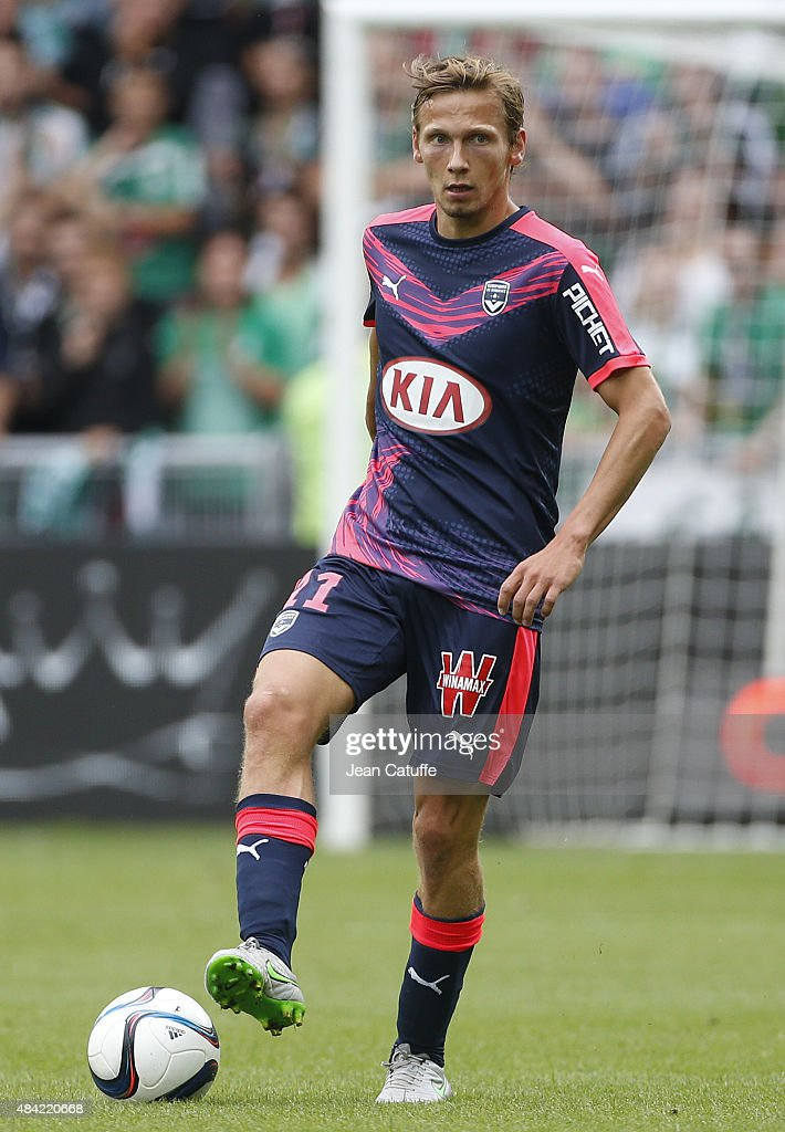Clement Chantome of Bordeaux in action during the French Ligue 1 match between AS Saint-Etienne (ASSE) and FC Girondins de Bordeaux at Stade Geoffroy-Guichard on August 15, 2015 in Saint-Etienne, France.