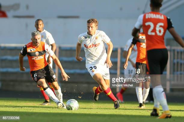 Clement Chantome of Lens during the French League Cup match between FC Lorient and RC Lens at Stade du Moustoir on August 22 2017 in Lorient France